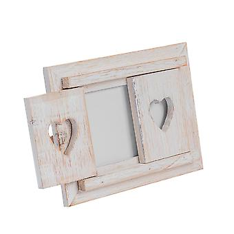 "Nicola Spring White Wooden Heart Shutters Fritstående Foto Billedramme - 6 x 4"" - Pakke med 5"