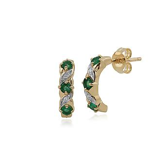 Klassische Runde Smaragd & Diamant halb Creolen in 9ct Gelbgold 135E1309019