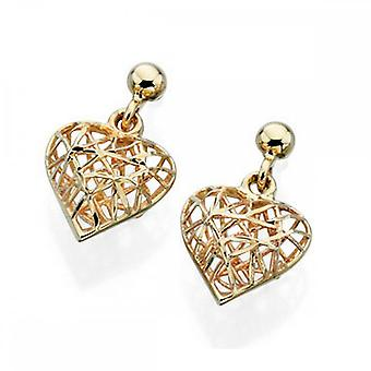 Elements Gold Elements Yellow Gold Caged Heart Stud Earrings GE841Z475