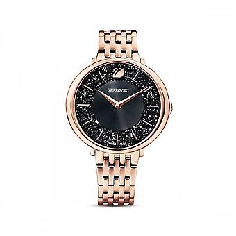 Swarovski Crystalline Chic Metal Black Rose Gold-tone Watch 5544587