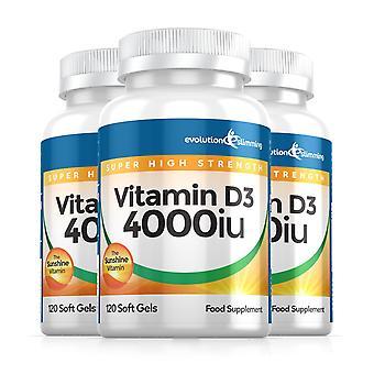 Vitamin D D3 4,000iu Super Strength Soft Gels - 360 Soft Gel Capsules - Vitamin Supplement - Evolution Slimming