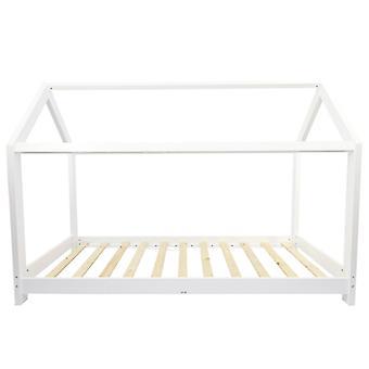 Puckdaddy Hausbett Finn 200x90 cm Kinder Bett aus Holz in Weiß mit Bettrahmen im Hausbett Design