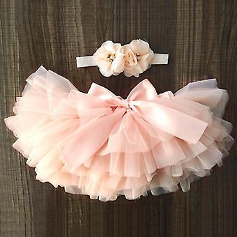 Újszülött kislányok tulle bloomers tutu pelenkák terjed rövid szoknyák + fejpánt set szivárvány szoknya