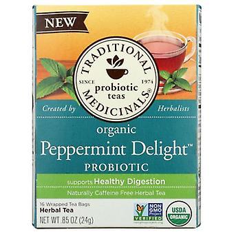Traditional Medicinals Teas Organic Tea Peppermint Delight Probiotic, 16 Bags
