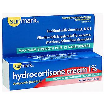 Sunmark Hydrocortisone Cream 1% Plus Moisturizer Maximum Strength, 1 Oz