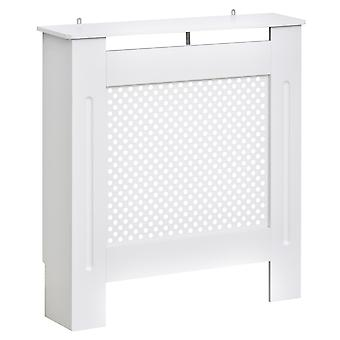 HOMCOM Wooden Radiator Cover Heating Cabinet Modern Home Furniture Grill Style  White Painted (Small)