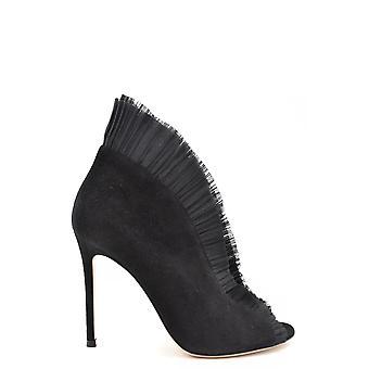 Gianvito Rossi Ezbc443008 Women's Black Suede Ankle Boots