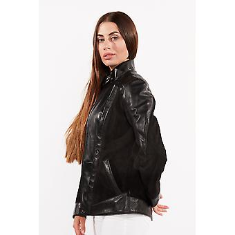 Womens Cosette Dual Panel Leather Jacket