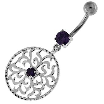 Purple Crystal Stone Fancy Tribal Flower in Circle Dangling Sterling Silver Belly Bars Piercing