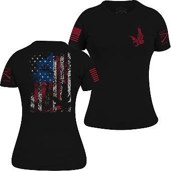 Grugnisci libertà Flag t-shirt stile femminile-nero
