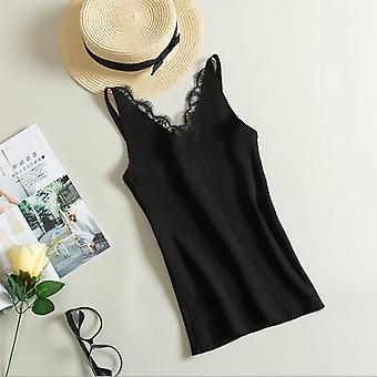 Flower Lace Solid Stitching V-neck Knitted Short Slim Sleeveless Camis