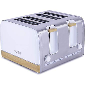 Smith-Style Premium Toaster 4 Slice Chrome & Wooden Effect Decoration