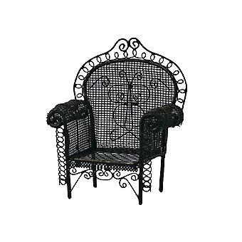 Dolls House Black Wire Wrought Iron Armchair Miniature Garden Patio Furniture