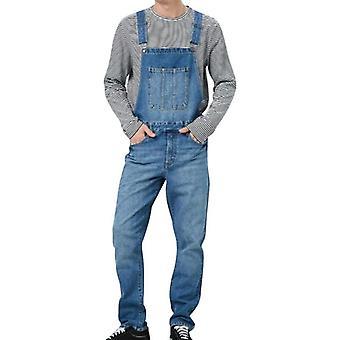 Pantaloni casual carpenter in denim da uomo, pantalone tuta bavaglino sciolto
