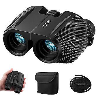 High powered 10x25 binoculars with low light night vision, sgodde compact folding binoculars fit for