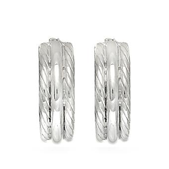 Boucles d'oreilles Sterling Silver Rhodium Plaqué Twisted Tube Round Hoop, Diamètre 15mm