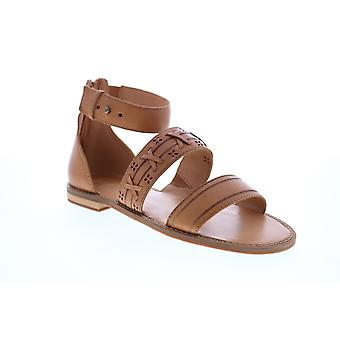 Frye & Co. Evie Whipstitch 2 Band Sandal  Womens Brown Leather Strap Sandals Shoes