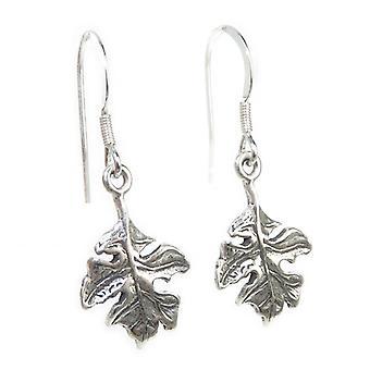 Oak Tree Leaf Sterling Silver Oorbellen X 1 Paar leaves drops