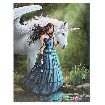 19x25cm Enchanted Pool Canvas Plaque by Anne Stokes
