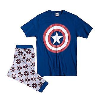 Men's Marvel Captain America Logo manchet Pyjama Sæt