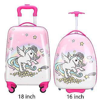 Lasten matkalaukku, pyörillä sarjakuva rullaava matkalaukkuvaunu