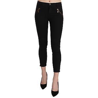 Black Low Waist Skinny Cropped Trousers Pants