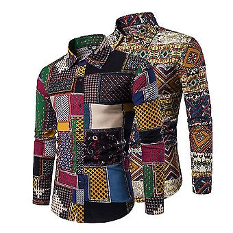 YANGFAN Hombres's 2 pcs estilo étnico elegante camisa floral de manga larga