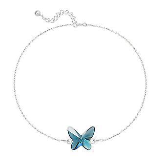 Zilveren blauwe vlinderarmband die met swarovskikristal wordt gemaakt