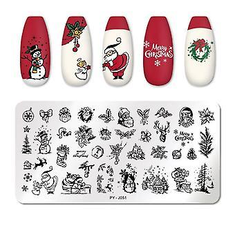 Navidad uñas estampando copo de nieve festival patrón arte de uñas placa de imagen