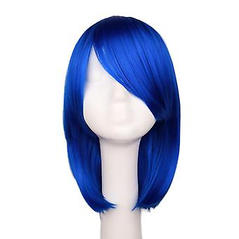 Anime cosplay short hair trimming face wig blue