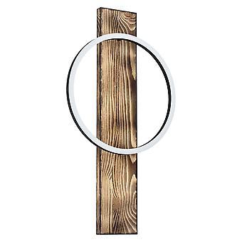 Eglo Boyal LED enkelring vägg ljus i svart och rustik ek
