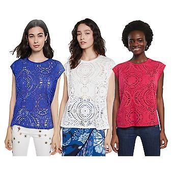 Desigual Nilo Cutwork Pitsi Pretty Sheer Tshirt SS21 Style 20WWTKX1 Sininen Valkoinen Pinkki