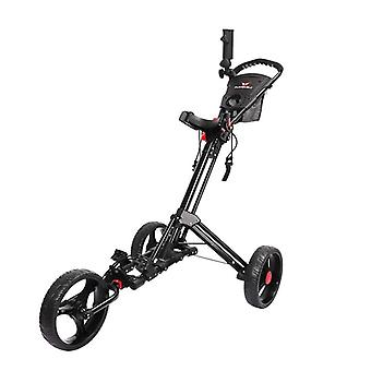 Golf push cart, svängbar vikbar, 3 hjul, dragvagn med paraplystativ