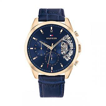 Tommy Hilfiger BAKER Relógio Masculino 1710451 - Pulseira de Couro Azul