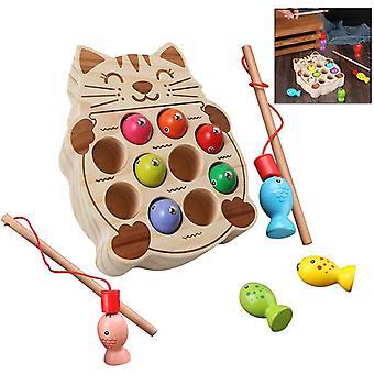HanFei Holzspielzeug Angelspiel Montessori Lernspielzeug Fische Angeln Kinderspielzeug Geschenk