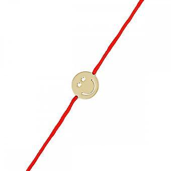 Pulsera de cordón vermeil amarillo sonriente y cordón rojo 'apos;Star'apos;