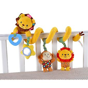Lion Stroller Hanging Toy Cartoon Activity Spiral With Music Box Bell Sound Paper Pram Crib Toy For Infant