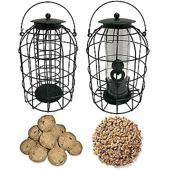 1 x Pair of Simply Direct Squirrel Resistant Guard Seed and Fat Ball Feeders with 3.6KG Bag of Seeds and Bag of 45 Suet Fat Ball Wild Bird Feed
