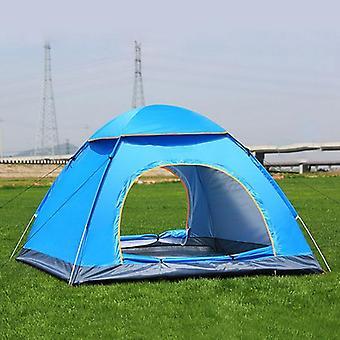 3-4 الناس 3 IN 1 في الهواء الطلق التلقائي خيمة التخييم Rainproof خيمة الباب المزدوج (الأزرق)
