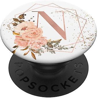 FengCh Pfirsichun Rose Rosa Blumen Aquarell Geschenk Buchstabe N PopSockets PopGrip: Ausziehbarer