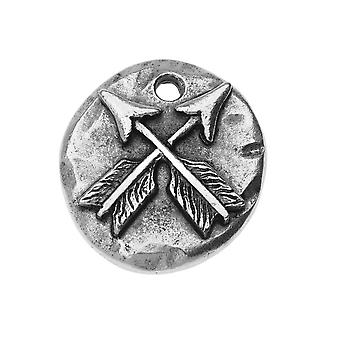 Final Sale - Nunn Design Charm, Organic Round with Crossed Arrows 18mm, 1 Piece, Antiqued Silver Plated