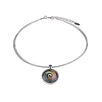 Adi - 'Sienna' crew neck, light silver brass pendant with colorful ornaments under a cabochon glass, handmade by Ref. 4251188645866