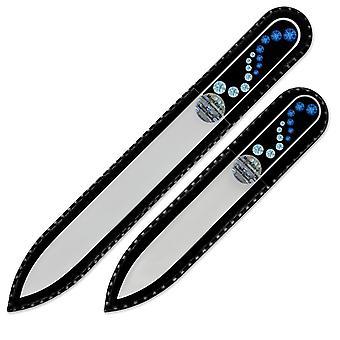 Ein Set von 2 Glasnagelfeilen mit Swarovski Kristallen WA-MS - Capri Blue - Aquamarin