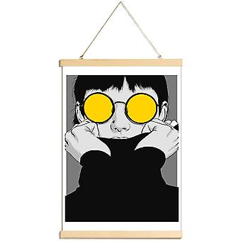 JUNIQE Print -  CV 01 - Modeillustration Poster in Gelb & Grau