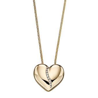 9ct Gelbgold Kanal Set Diamant Herz Anhänger Halskette