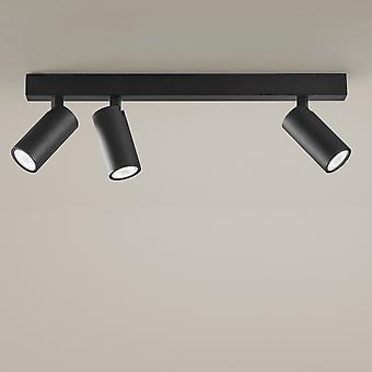LEDS C4 Yksinkertaisesti 3 elimet Spotlight 4 Valopalkki Metallinen Musta GU10 7W