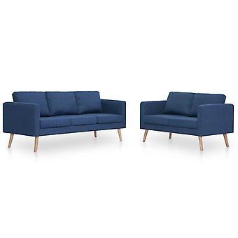 vidaXL 2 piezas. Sofá set tela azul