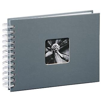 Hama 00002111 Photo Album with 50White Pages 25Sheets?24x 17cm, with Cut-Out for Insertable Picture) Gray (White Pages)