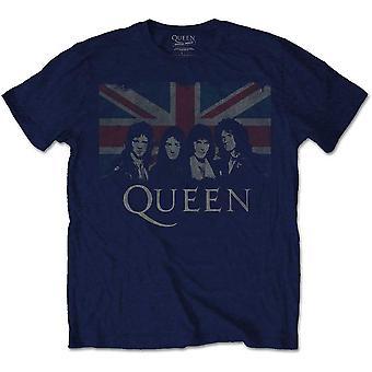 Queen - Vintage Union Jack Unisex XX-Großes T-Shirt - Blau