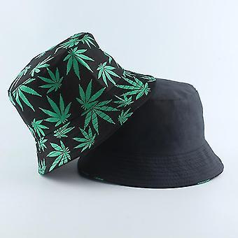 Fashion Cow Print Hat, Reversibel Fisker Sommer Hatte Gorras (Sort med grøn)